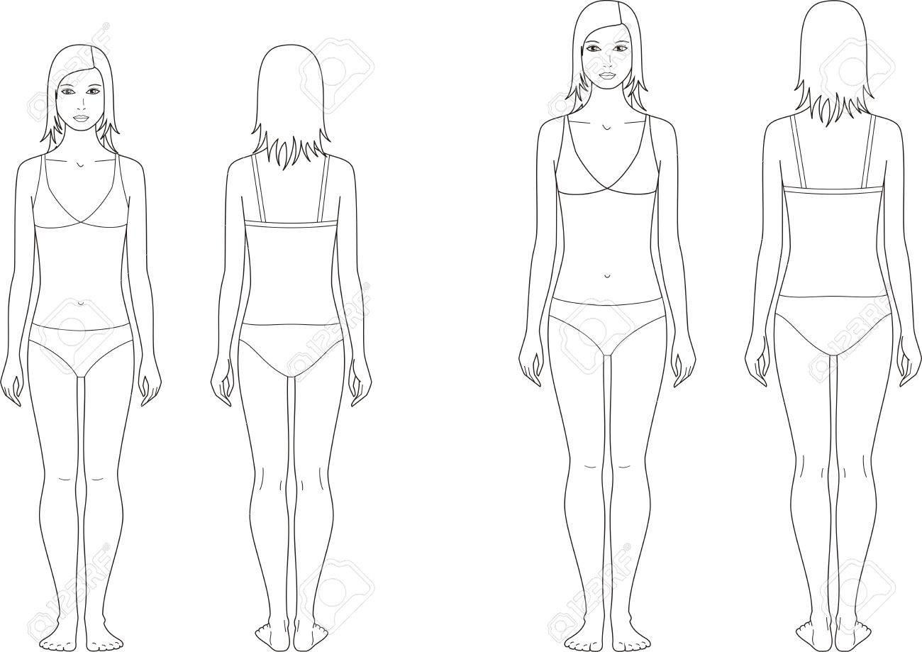 代女子図のベクトル図です。12 〜 15 歳。正面と裏面のイラスト素材 ...