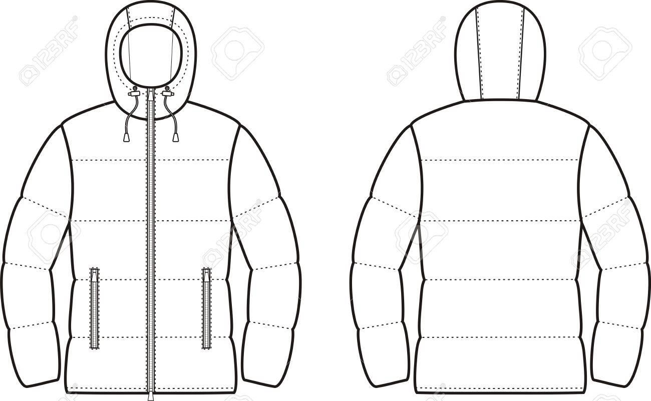 ダウン ジャケット キルティング冬のベクター イラストです正面と裏面
