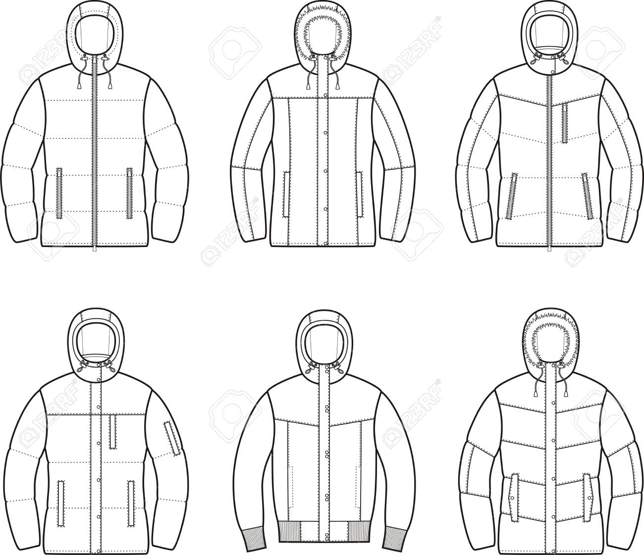 ダウン ジャケット レディース冬のベクトル イラストのイラスト素材
