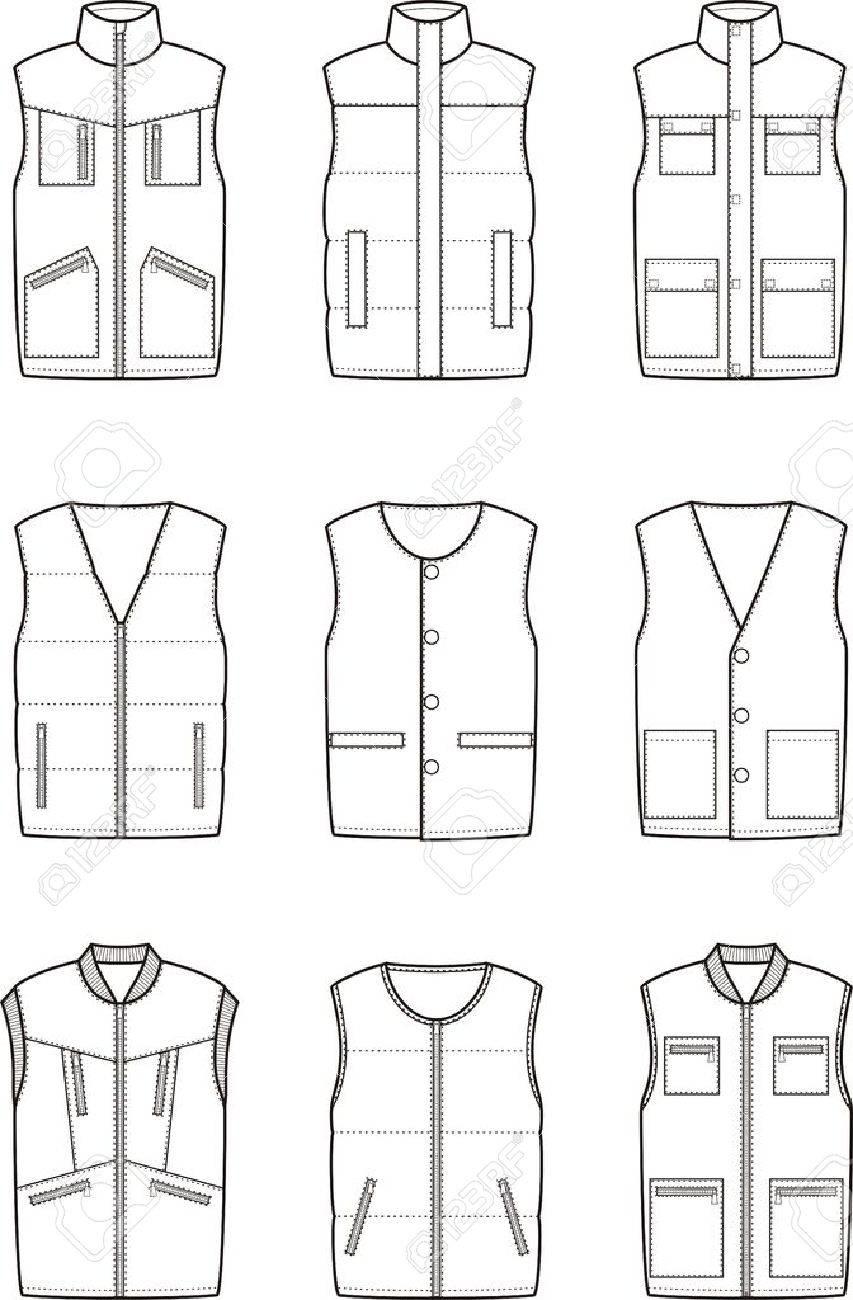 Vector illustration. Set of winter work waistcoat - 58589208