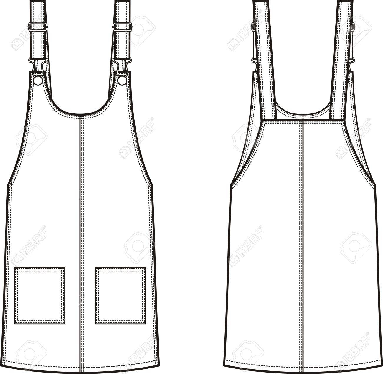 01cdf70d15b4 Vector - Vector illustration of women s jean overall dress. Front and back.  Clothes in denim style