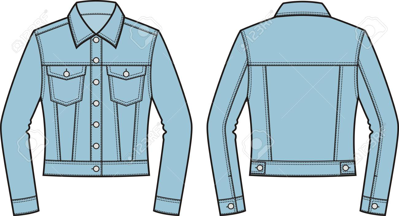 vector illustration of women s jean jacket front and back clothes