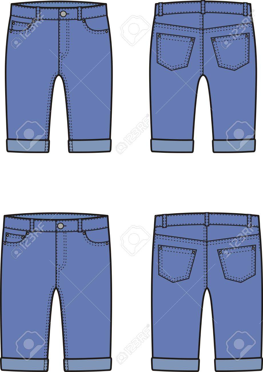 メンズとレディースのデニム半ズボンのベクター イラストです正面と