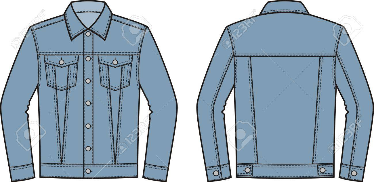 Vector Illustration Of Men S Jean Jacket Front And Back Clothes