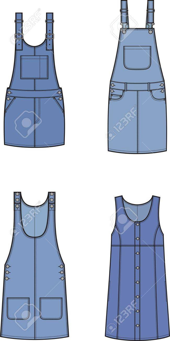 143060f08eda Vector - Vector illustration of women s jean overall dress. Clothes in denim  style