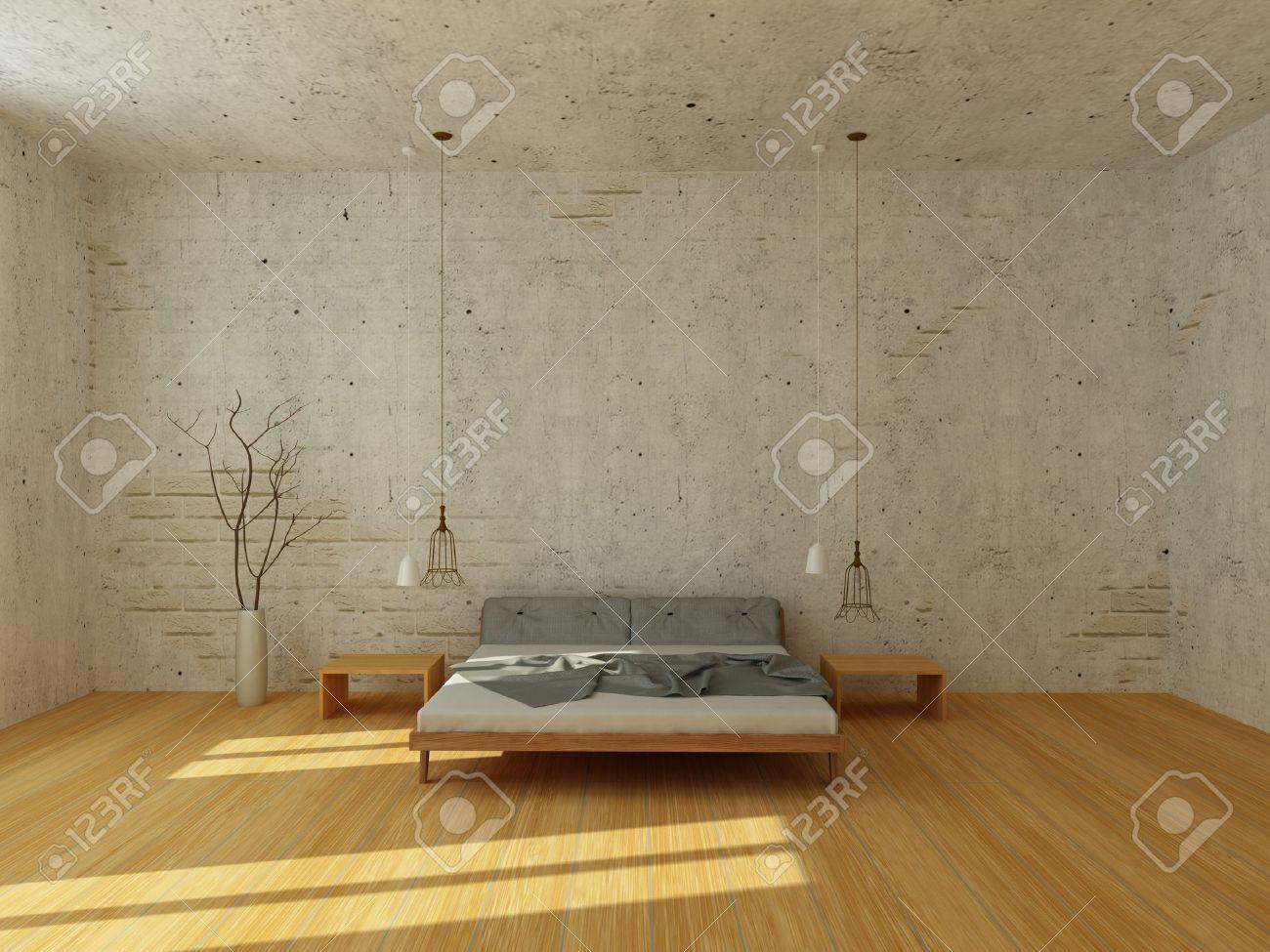 Camera da letto della luce con il bianco muro di mattoni e stucco ...