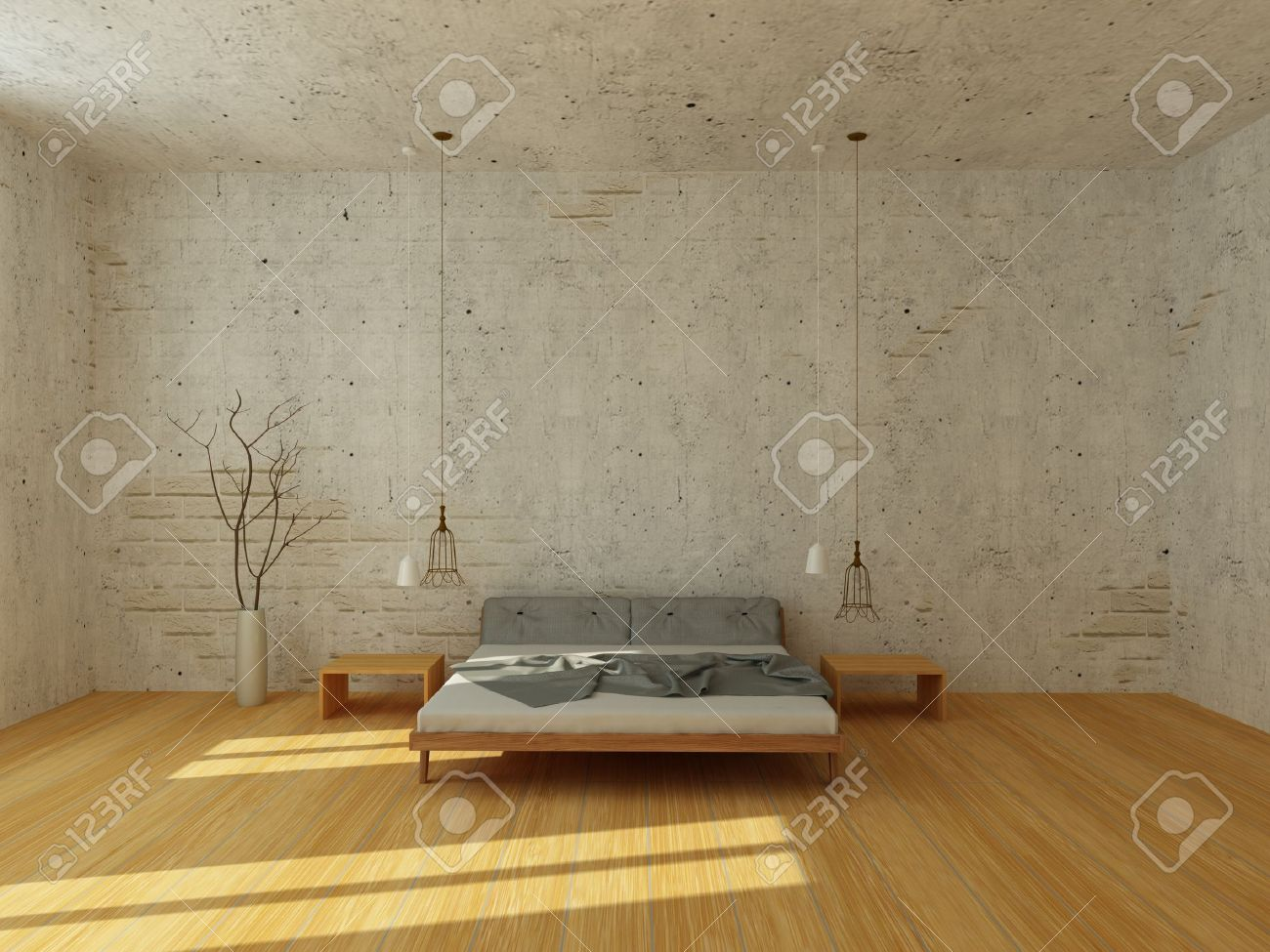 Light Bedroom With White Brick Wall And Stucco, With Wooden Floor, Modern  Chandelier,