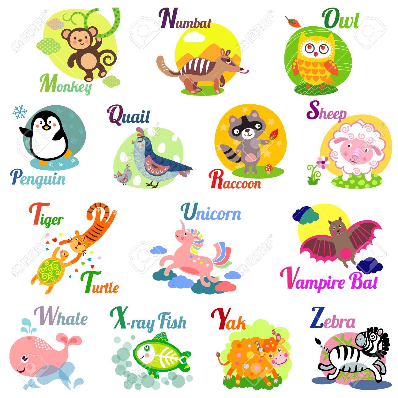 かわいい動物アルファベット abc 本。漫画の動物のベクトル イラスト。m