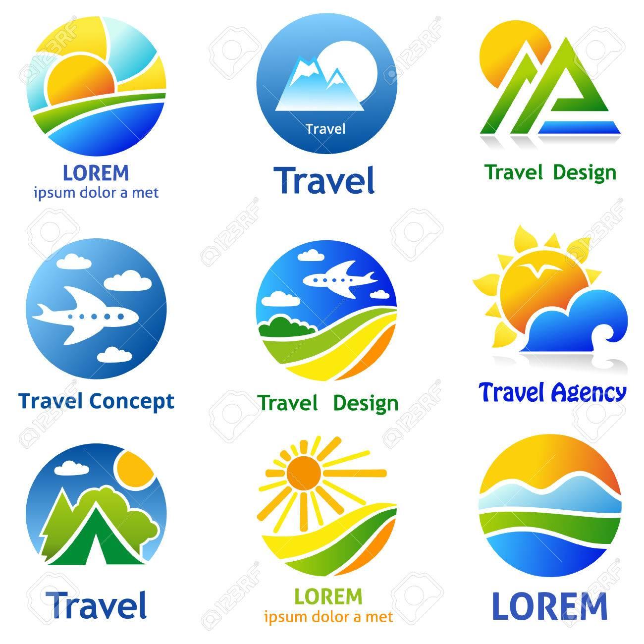 Set Of Travel Business Concept Symbols And Emblems For Travel