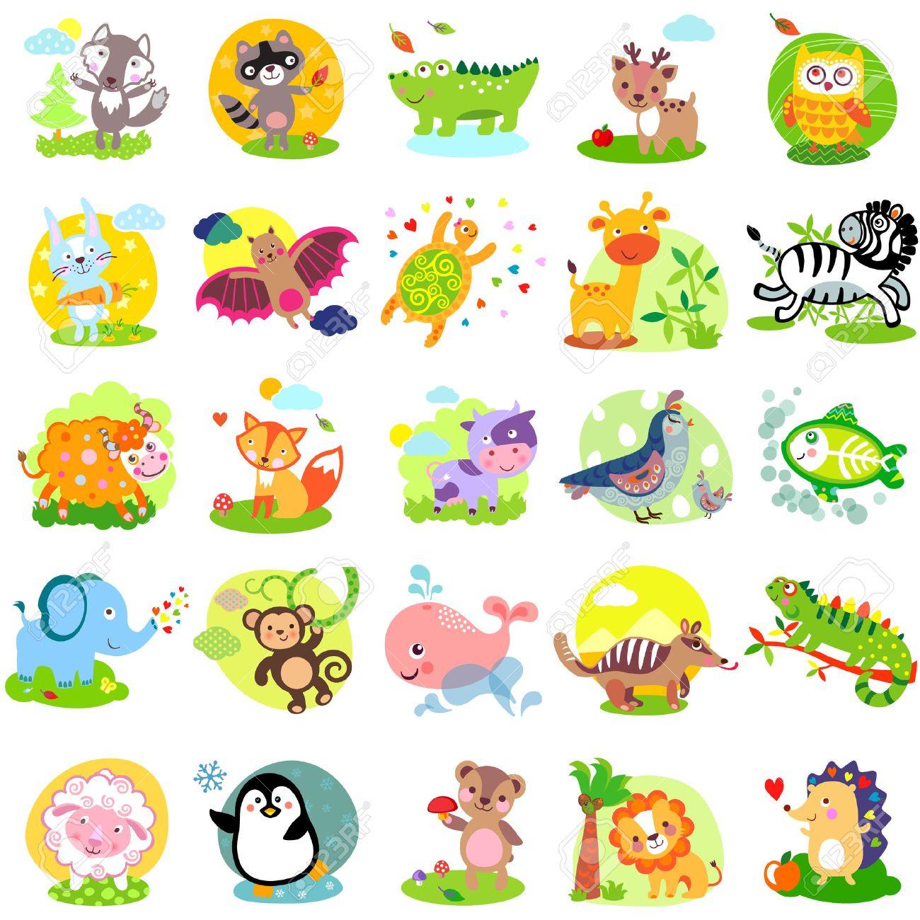 Vector illustration of cute animals and birds: wolf, raccoon, alligator, deer, owl, rabbit, bat, turtle, giraffe, zebra, yak, fox, cow, quail, bird, elephant, monkey, whale, numbat, iguanas, sheep, penguin, bear, lion, hedgehog, X-Ray Fish, bunny, hare Stock Vector - 46372853
