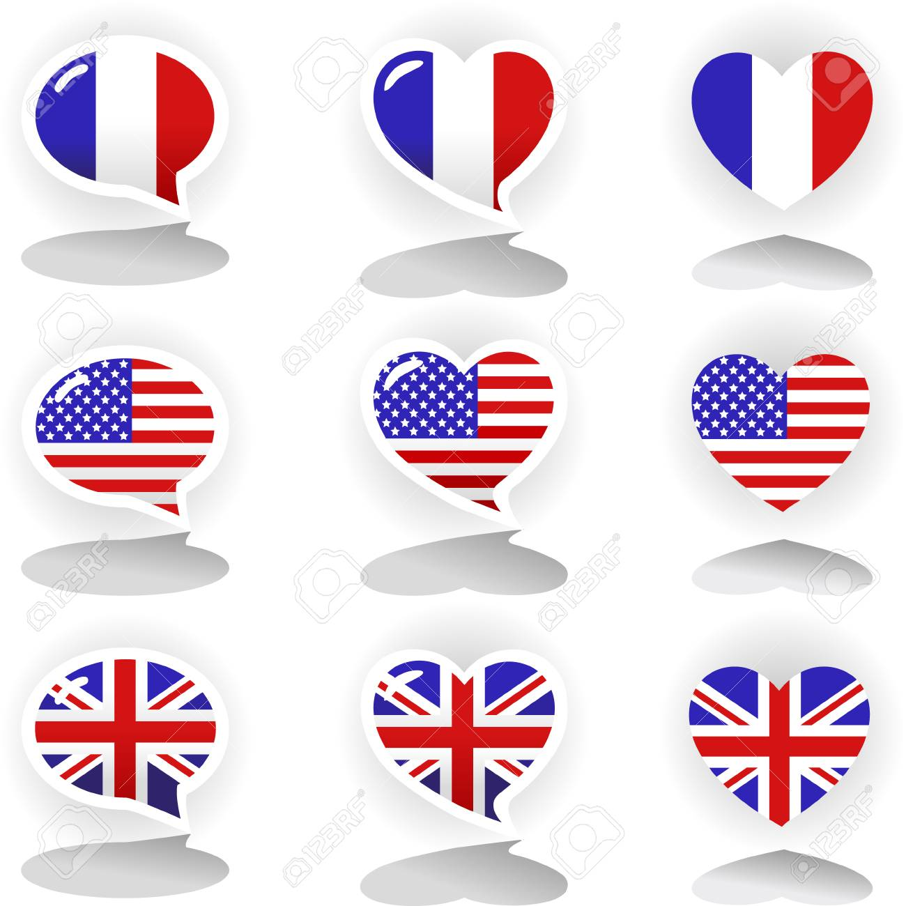Speech Bubbles With Symbols Of National Flags France United