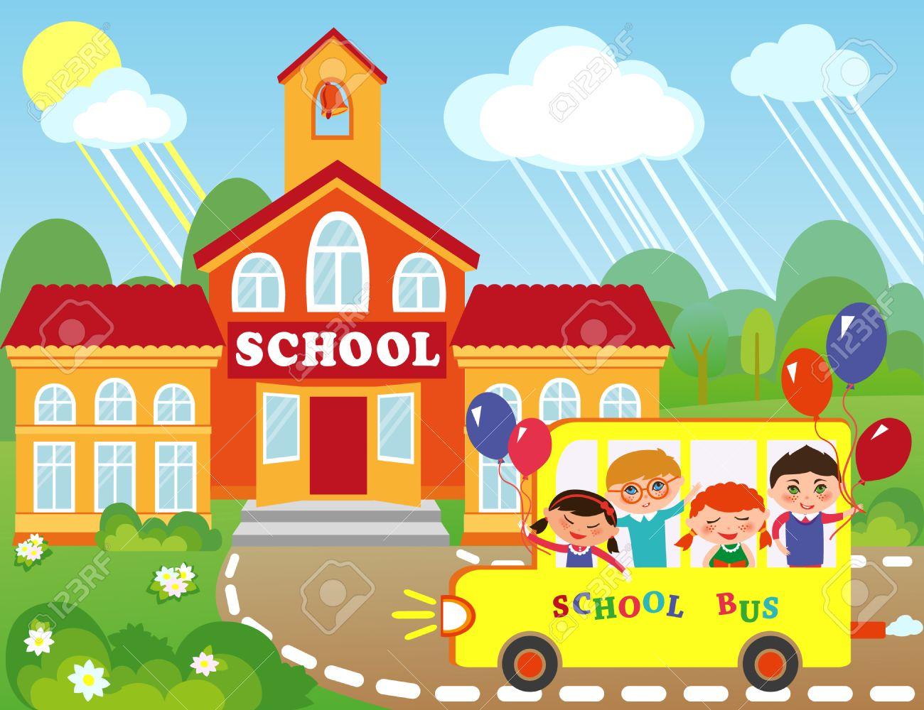 Ilustración Del Edificio De La Escuela De Dibujos Animados Los Niños Van A La Escuela En Autobús