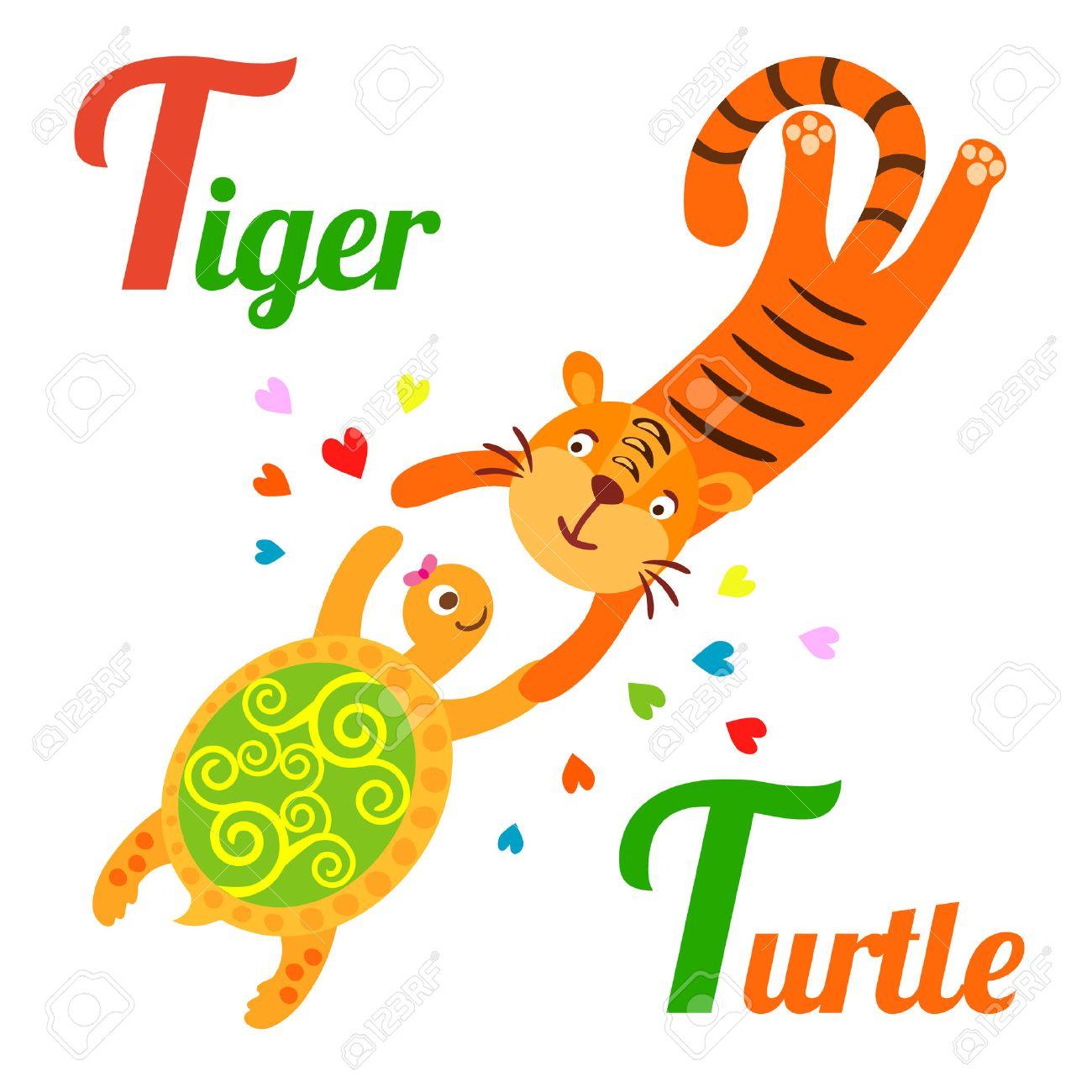 かわいい動物アルファベット abc 本。ベクトル漫画虎と亀のイラスト。虎