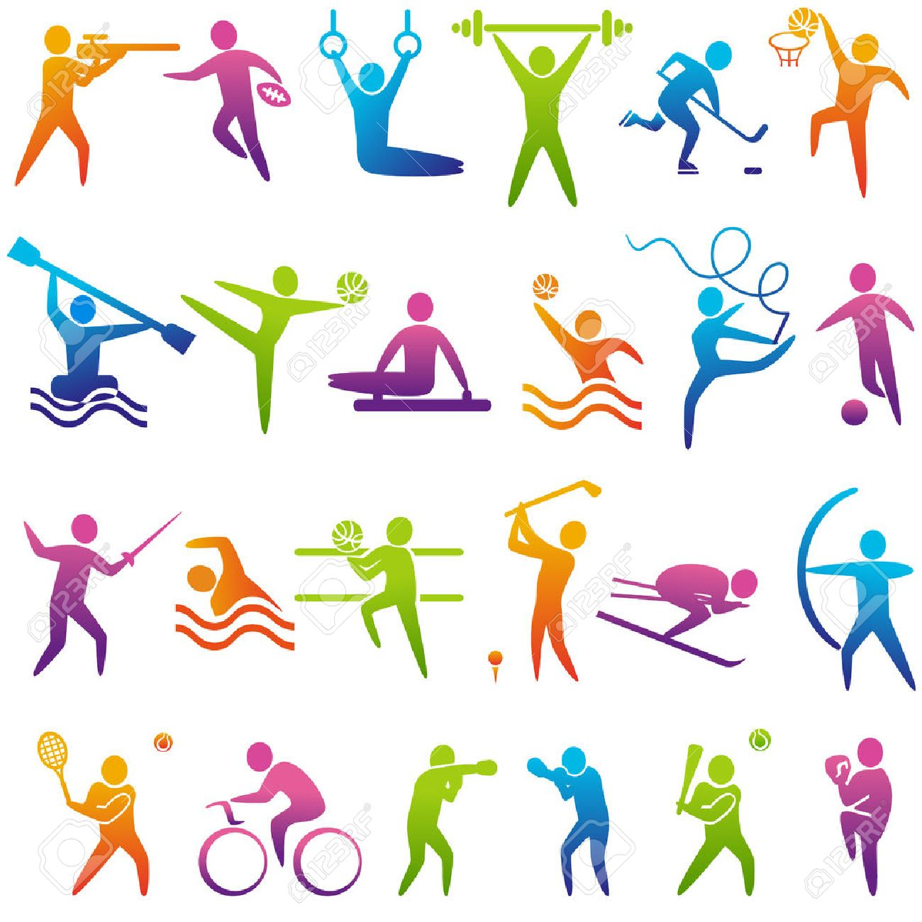 Set of sports icons: basketball, soccer, hockey, tennis, skiing, boxing, wrestling, cycling, golf, baseball, gymnastics, shooting, rugby, gymnastics, American football, power lifting, kayaking, canoeing, barbell, weightlifting, water polo, archery, fencing, swimming, volleyball, sports competitions. Vector illustration - 46372920