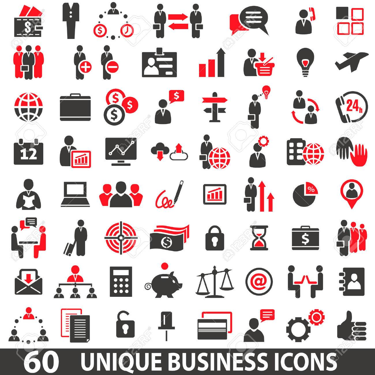 Set of 60 business icons in two colors red and dark grey Stock Vector - 46373040