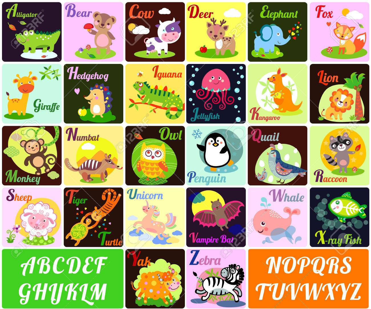 a vector illustration of alphabet animals from a to z royalty free