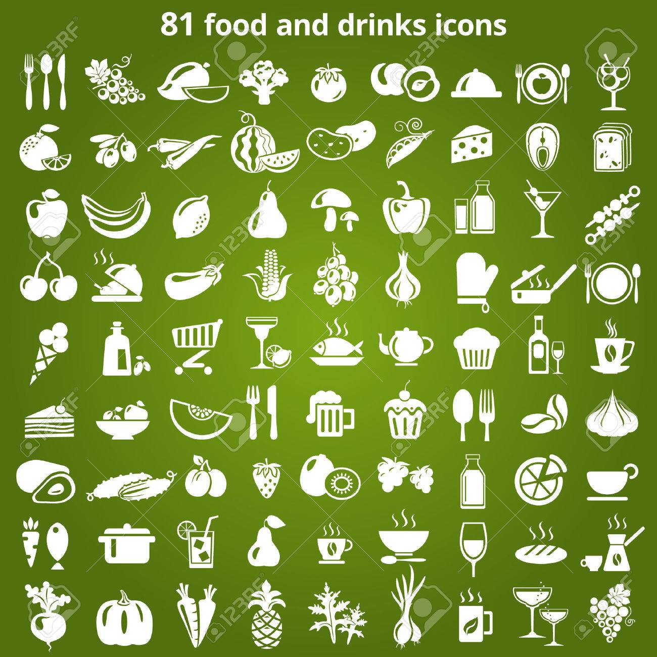 Set of food and drinks icons. Vector illustration. Stock Vector - 46373073