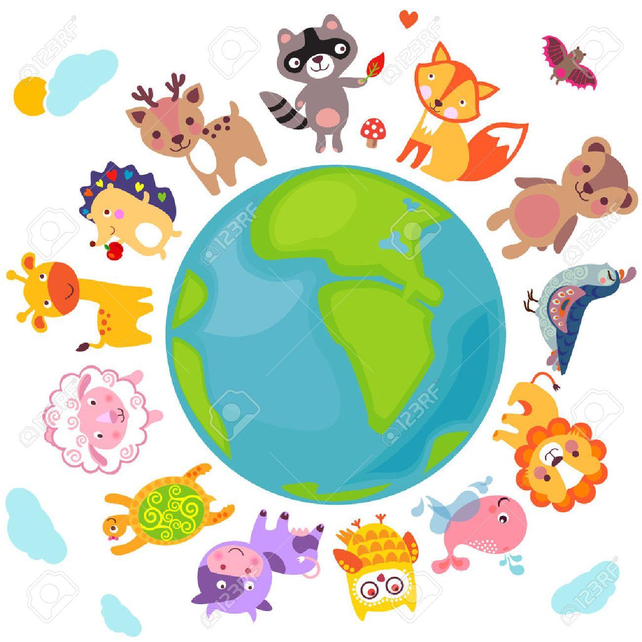 cute animals walking around globe save animals emblem animal