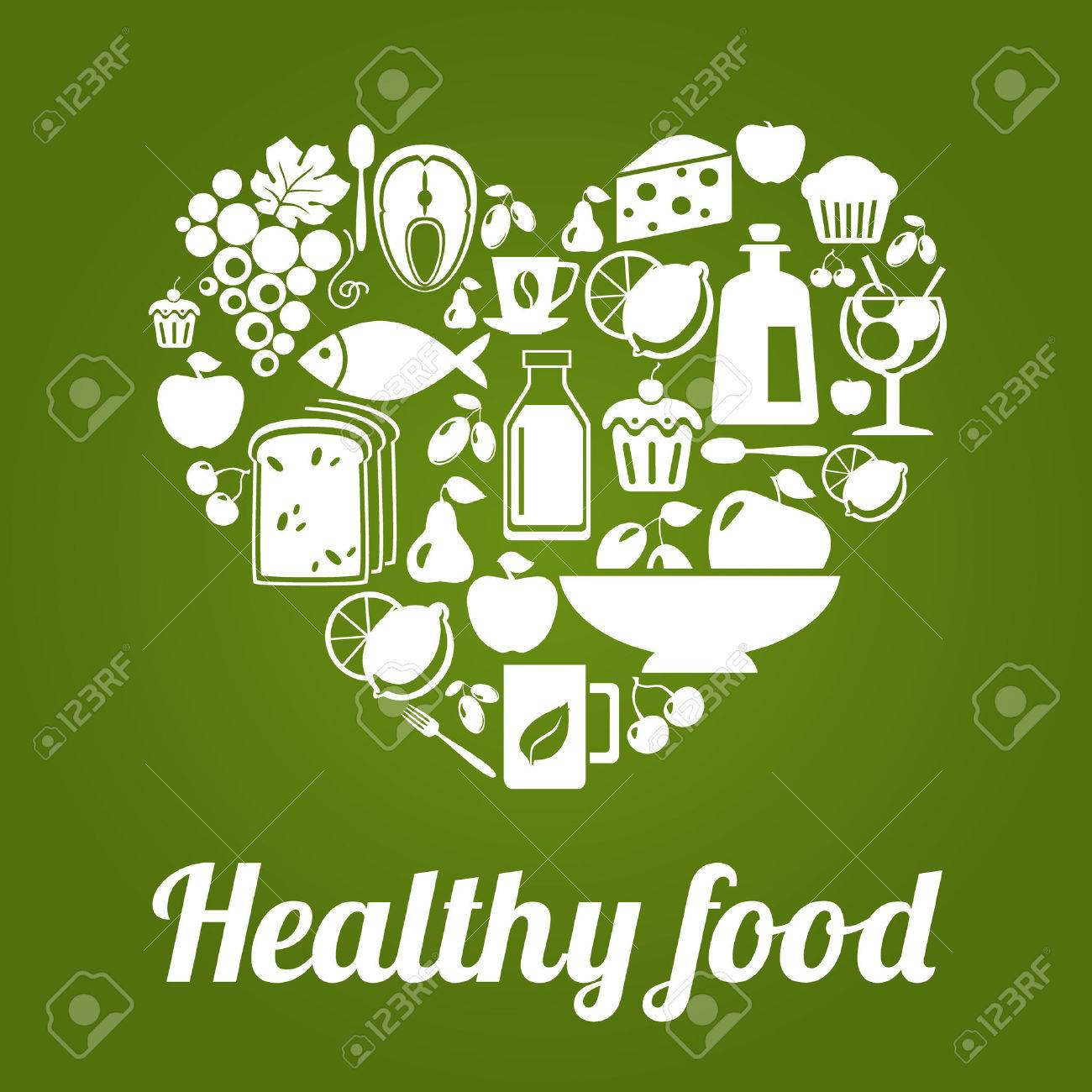 healthy food concept, vintage style, heart shape. vector illustration Stock Vector - 46373088