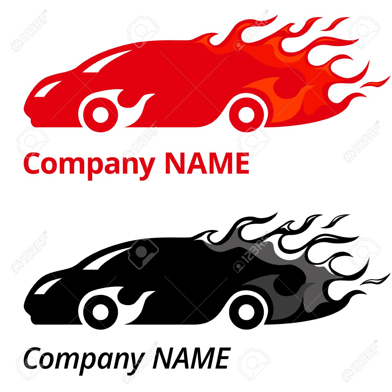 Vector Illustration Of Red Sport Car With Flames Company Name