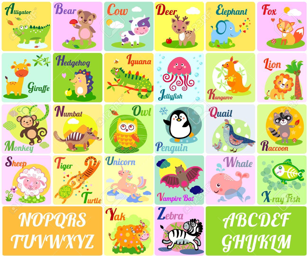 かわいい動物のアルファベット。英語のアルファベットのポスター