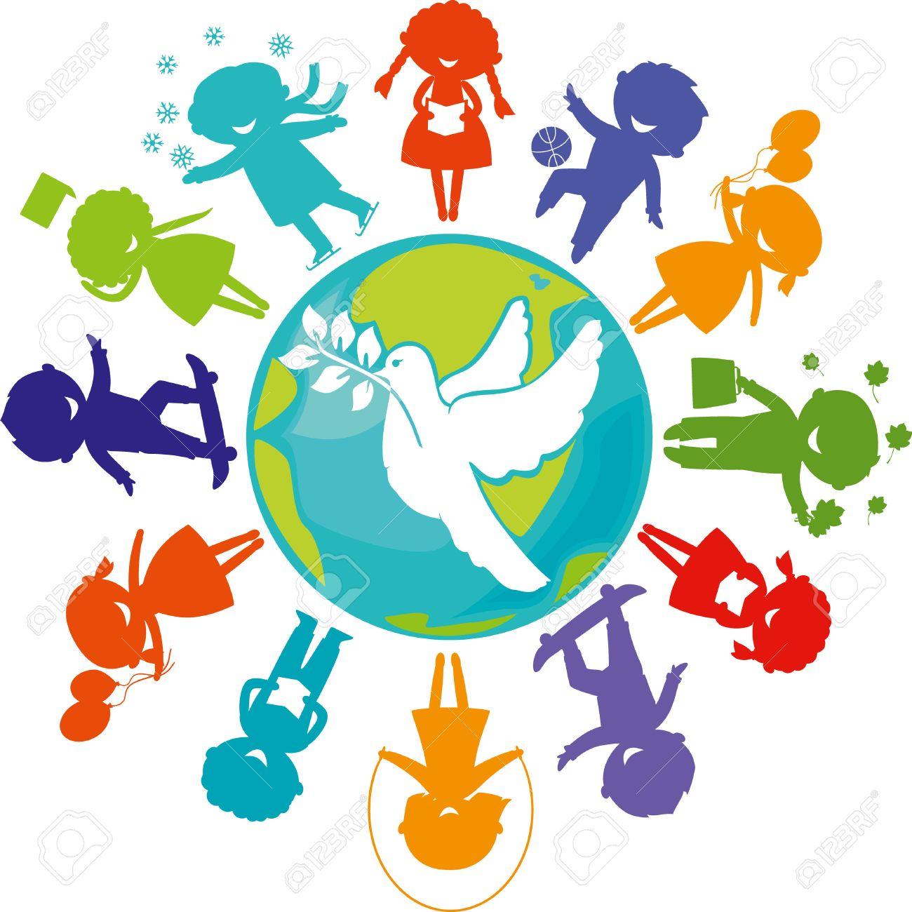 Cute children silhouettes around the world with pigeon symbol cute children silhouettes around the world with pigeon symbol of peace earth planet with buycottarizona Gallery