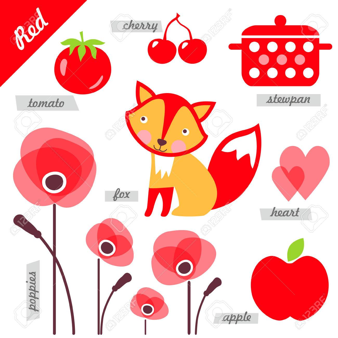 set of images as examples of red color for kids educational