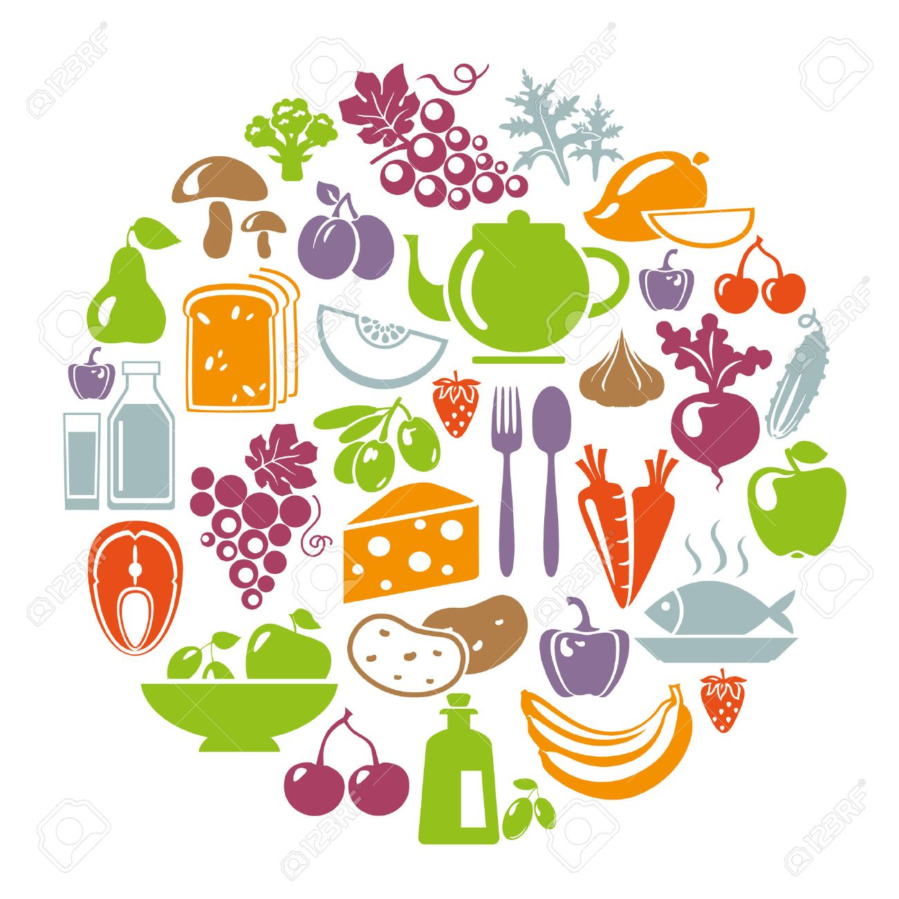 Vector illustration of healthy food concept. Circle shape with organic food icons: vegetables, fruits, fish, tea, coffee, cheese, olive oil, dairy Stock Vector - 46373369