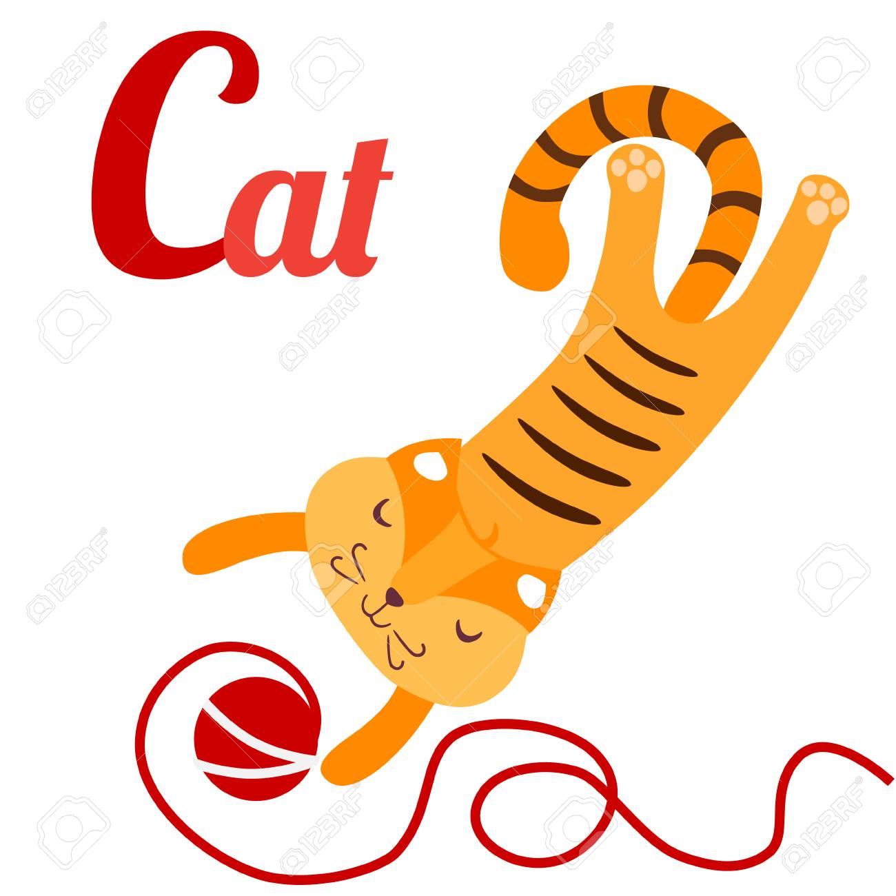 毛糸の玉とかわいい猫のベクター イラストですc 状の猫英語の