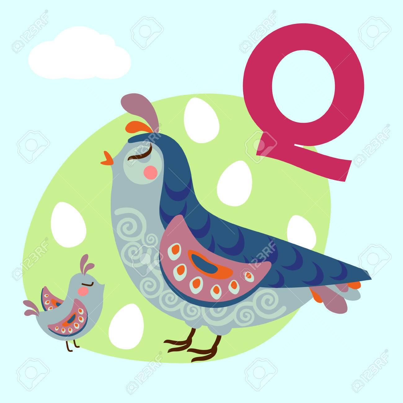 かわいい動物アルファベット abc 本。漫画の動物のベクトル イラスト。q