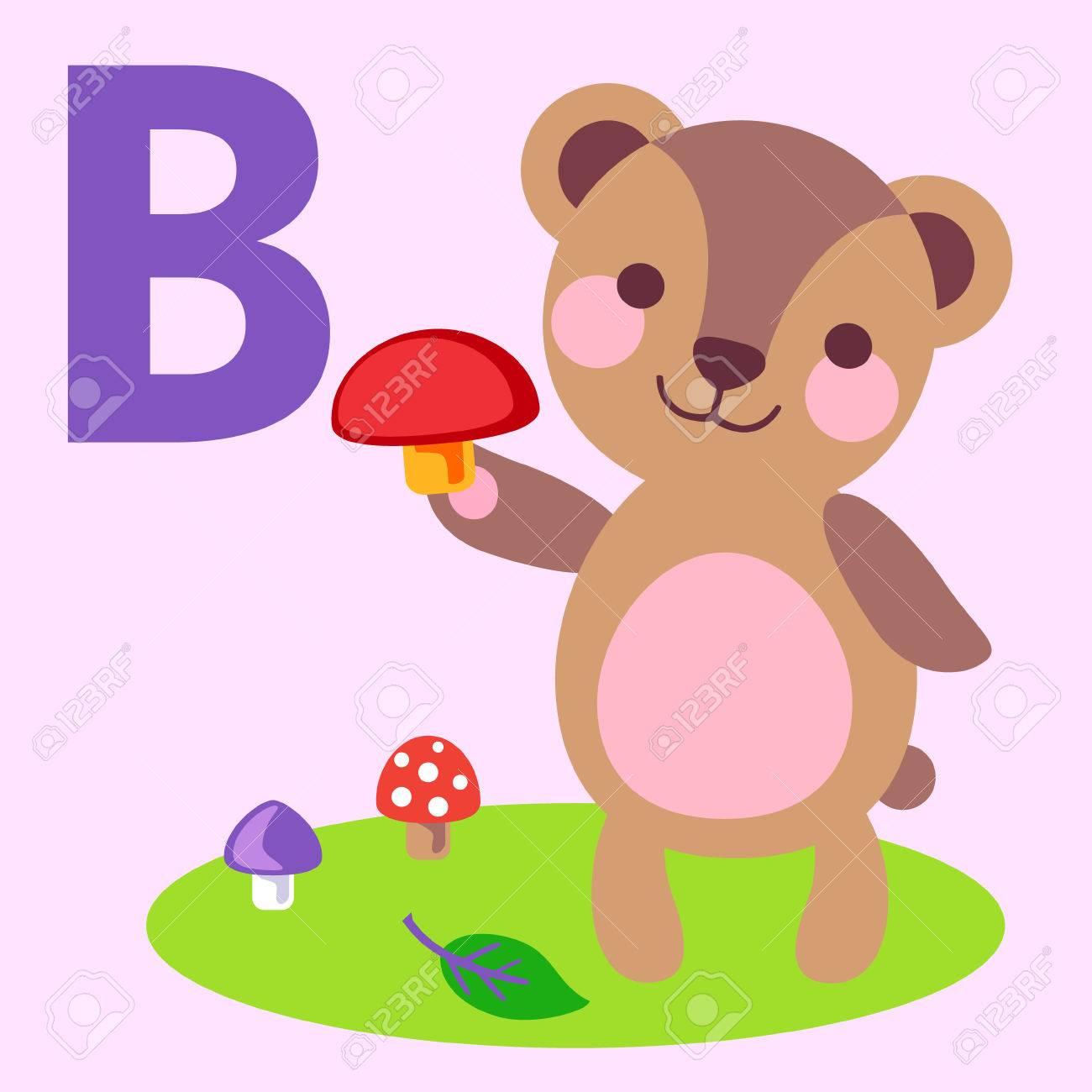 かわいい動物アルファベット abc 本。漫画の動物のベクトル イラスト。b