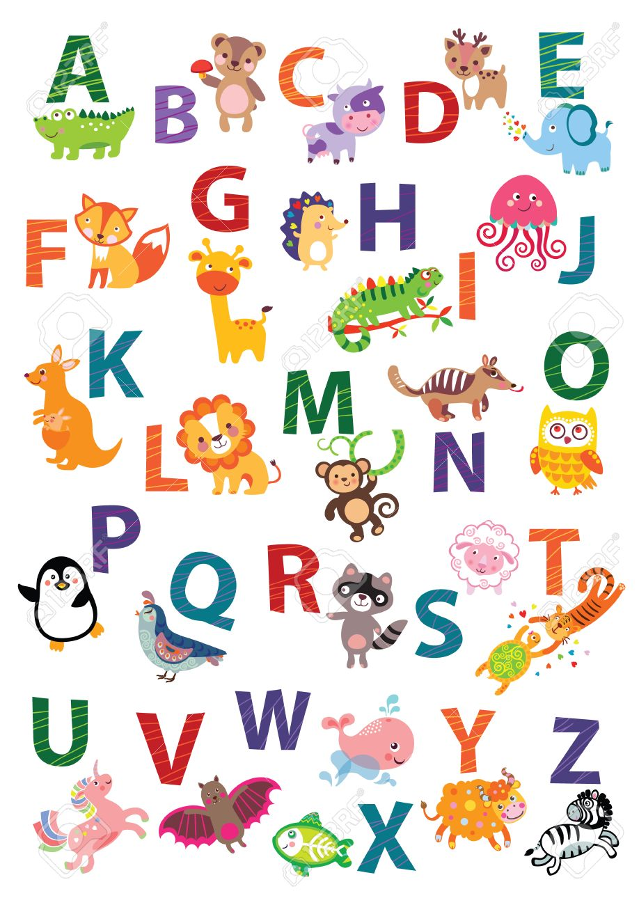 Cute Animal Alphabet. English Alphabet Poster. Nursery Wall Art, Animal  Themed, Kidu0027s