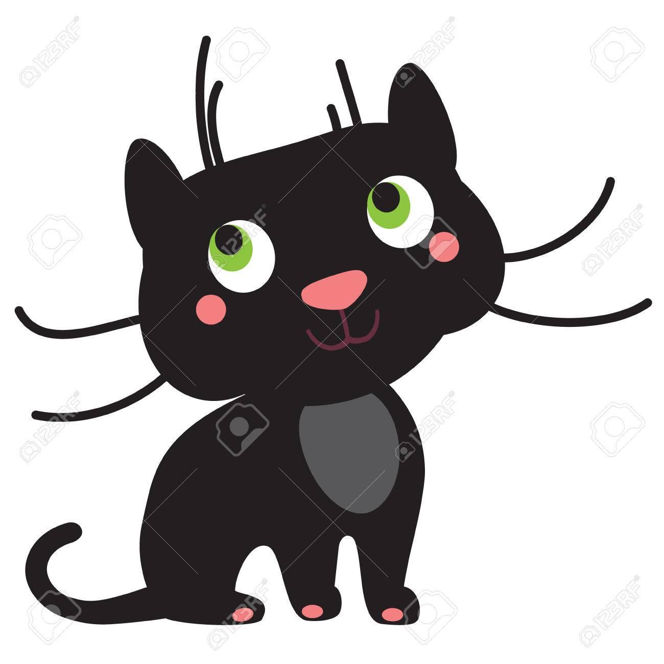 Eine Abbildung Eines Netten Jungen Schwarzen Panther, Im Format. Nizza Puma  Bild Für Kinder