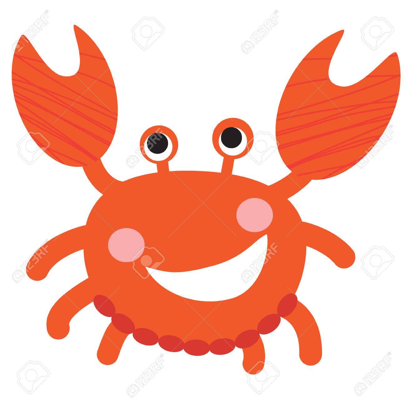 Eine Abbildung Eines Netten Lächelnden Rote Krabbe, Im Format. Nizza Krabbe  Bild Für Kinder