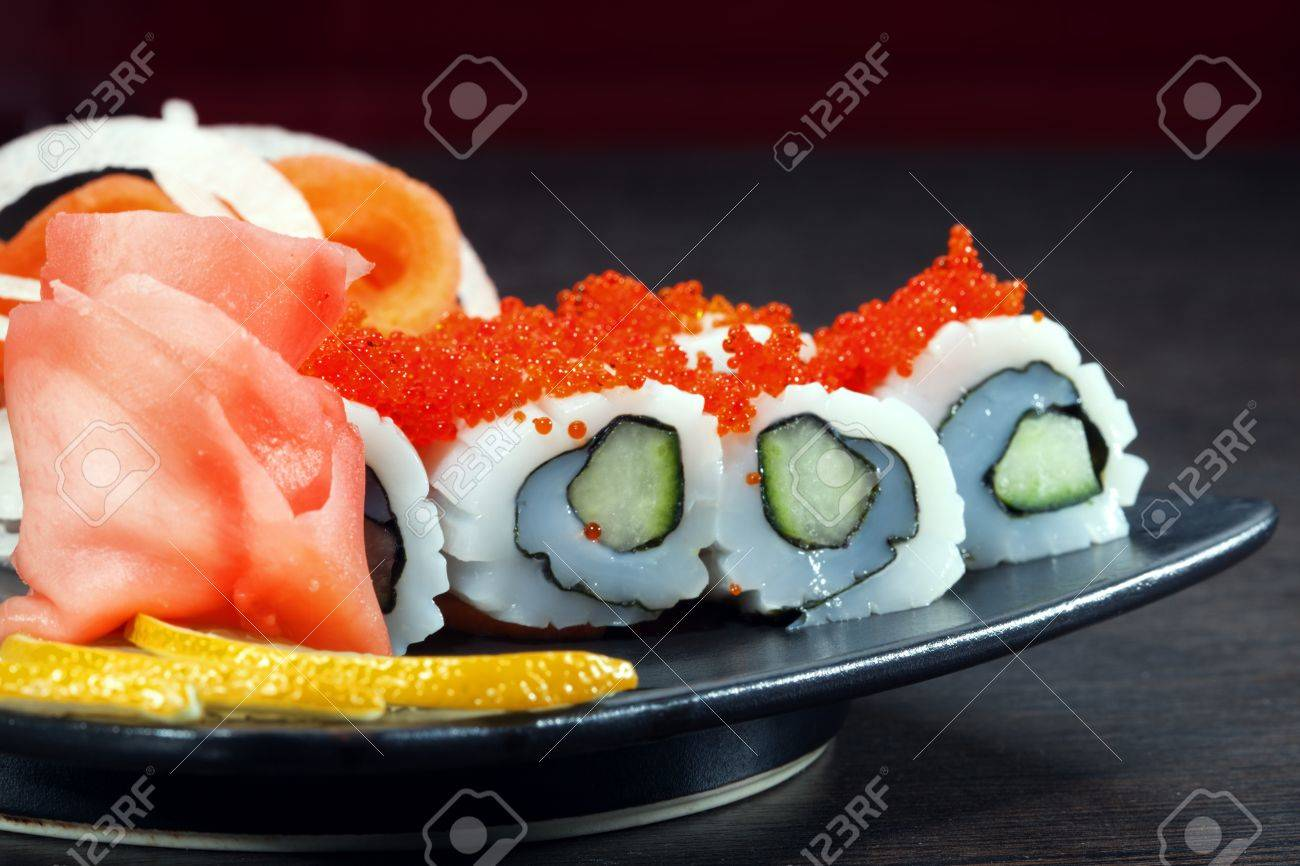 set of Japanese sushi on a plate - 14726316
