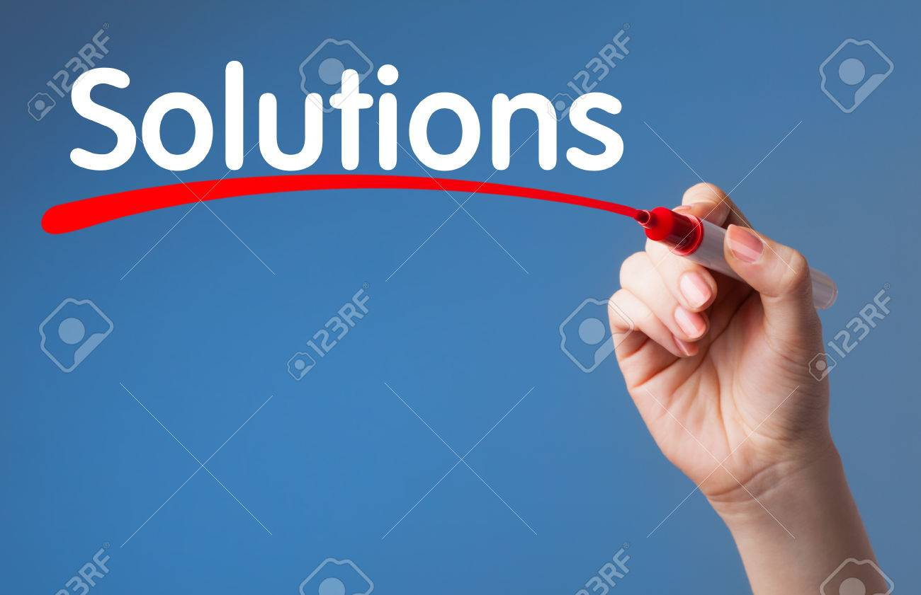 Hand writing Solutions red marker on transparent wipe board.Business, technology, internet concept. - 40253972