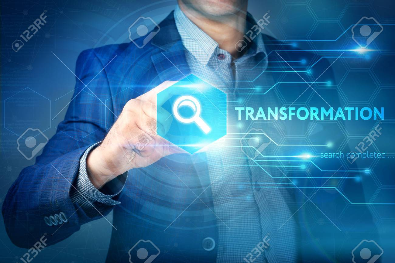 Business, internet, technology concept.Businessman chooses Transformation button on a touch screen interface. - 61492419