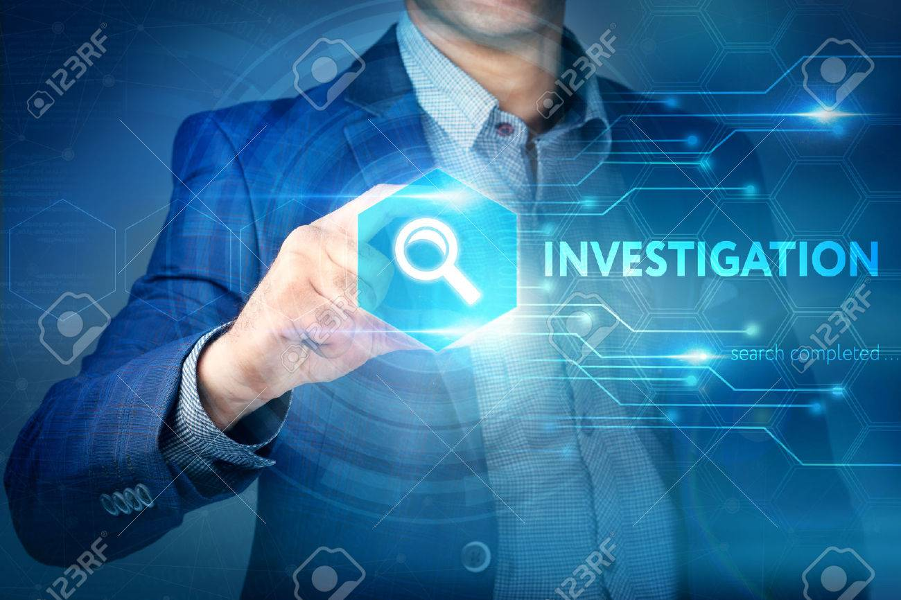 Business, internet, technology concept.Businessman chooses Investigation button on a touch screen interface. - 61500548