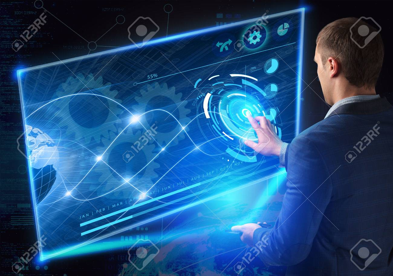 Business, Technology, Internet and network concept. Technology future. Young businessman, working on the smartphone of the future, clicks on the virtual display button - 61500610