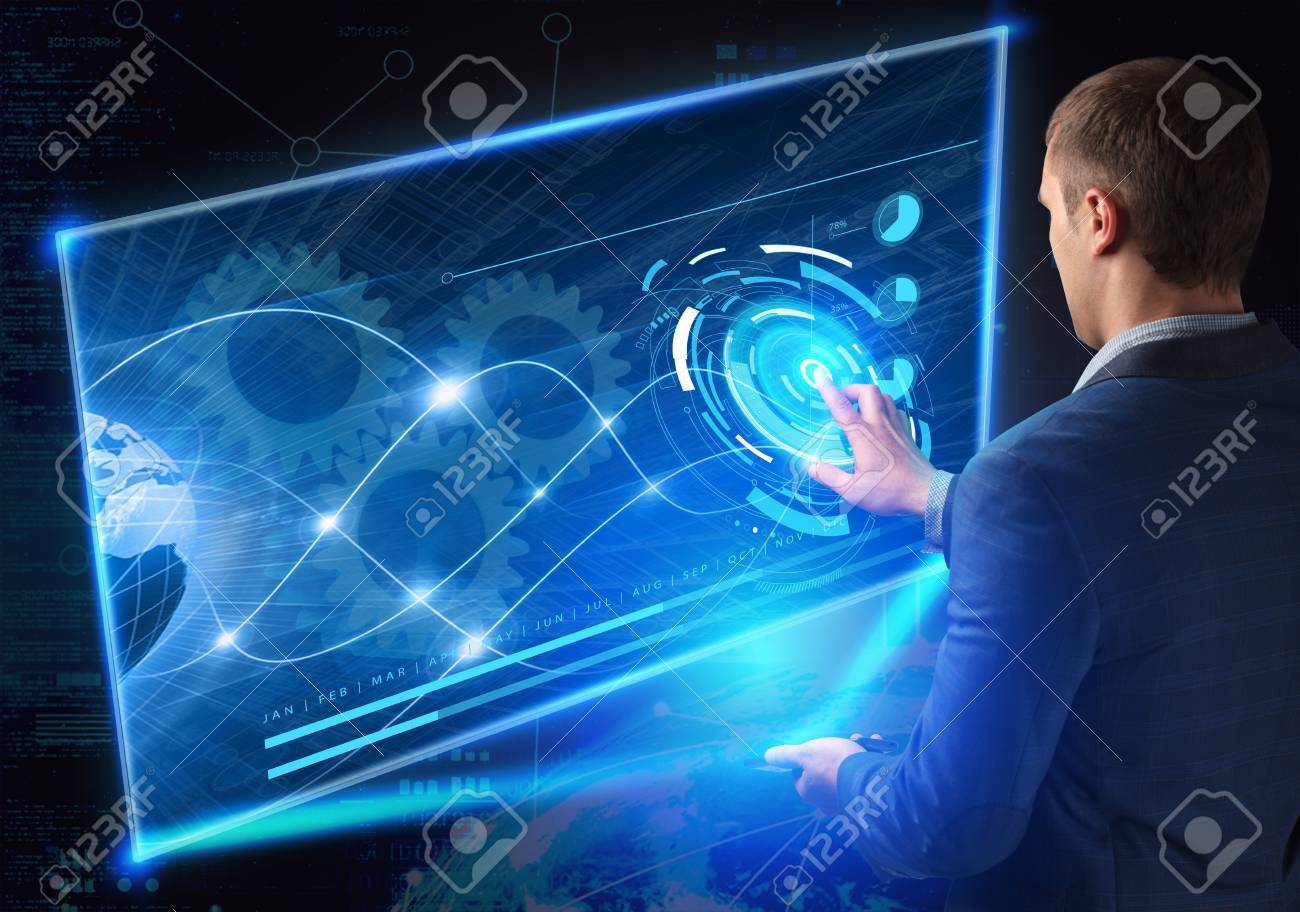 Business, Technology, Internet and network concept. Technology future. Young businessman, working on the smartphone of the future, clicks on the virtual display button - 61500611