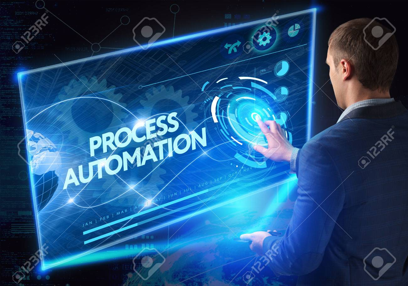 Business, Technology, Internet and network concept. Technology future. Young businessman, working on the smartphone of the future, clicks on the virtual display button: Process Automation - 61500615