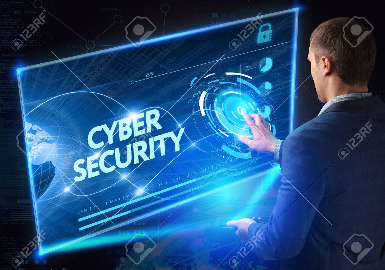 Business, Technology, Internet and network concept. Technology future. Young businessman, working on the smartphone of the future, clicks on the virtual display button: Cyber Security - 61500629