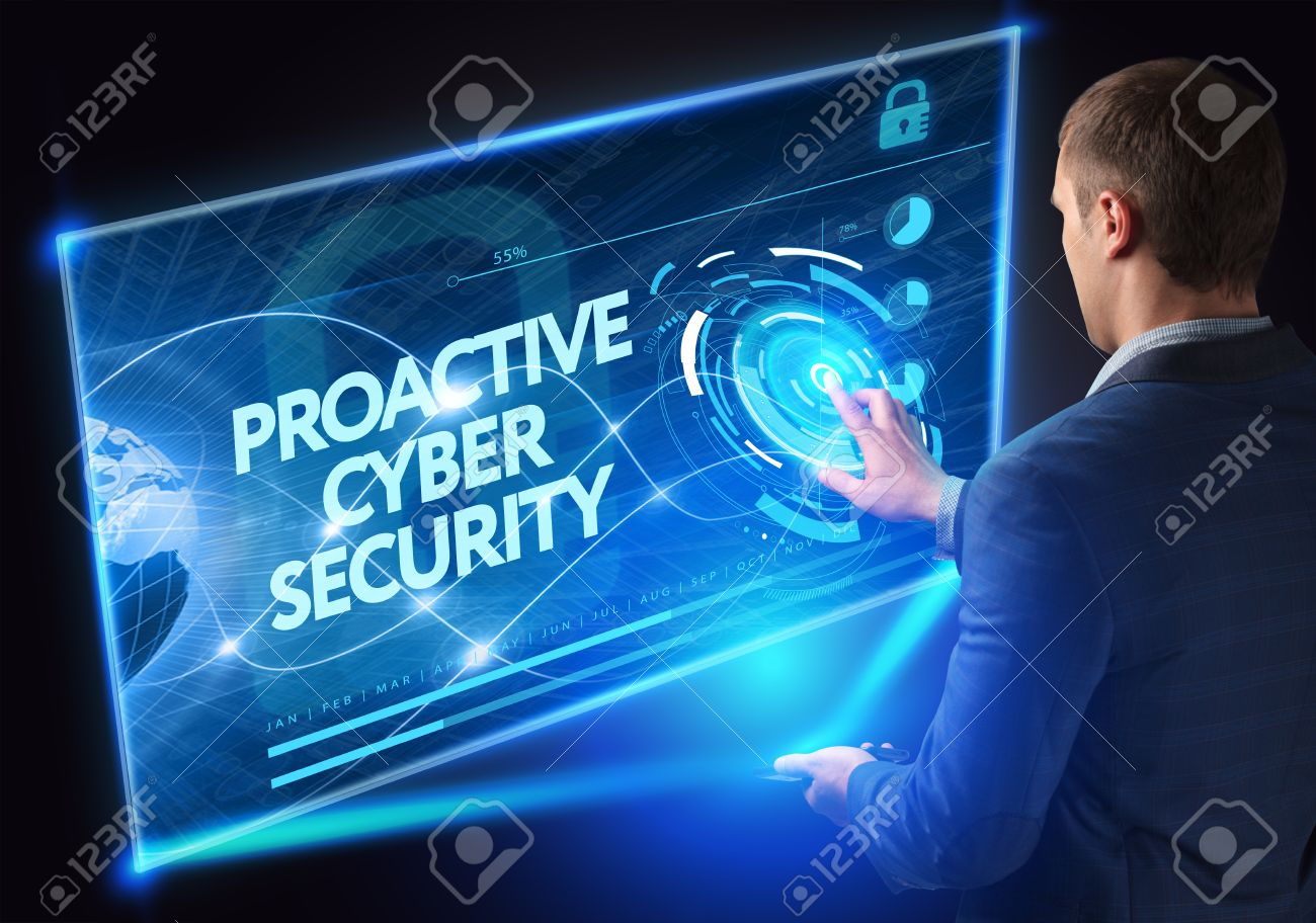 Business, Technology, Internet and network concept. Technology future. Young businessman, working on the smartphone of the future, clicks on the virtual display button: Proactive Cyber Security - 61500685