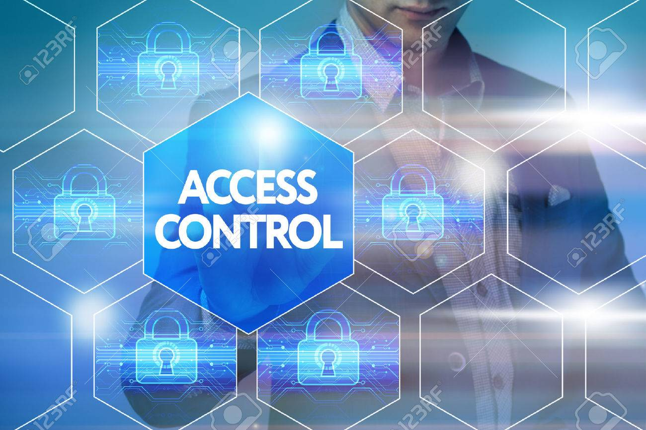 Business, technology, internet and networking concept. Businessman presses a button on the virtual screen: Access control - 63635467
