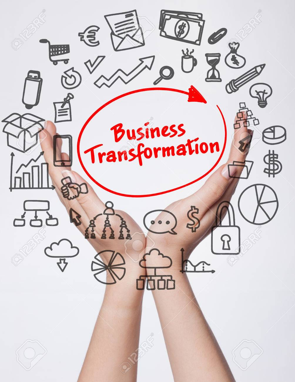 Technology, internet, business and marketing. Young business woman writing word:business transformation - 69030107