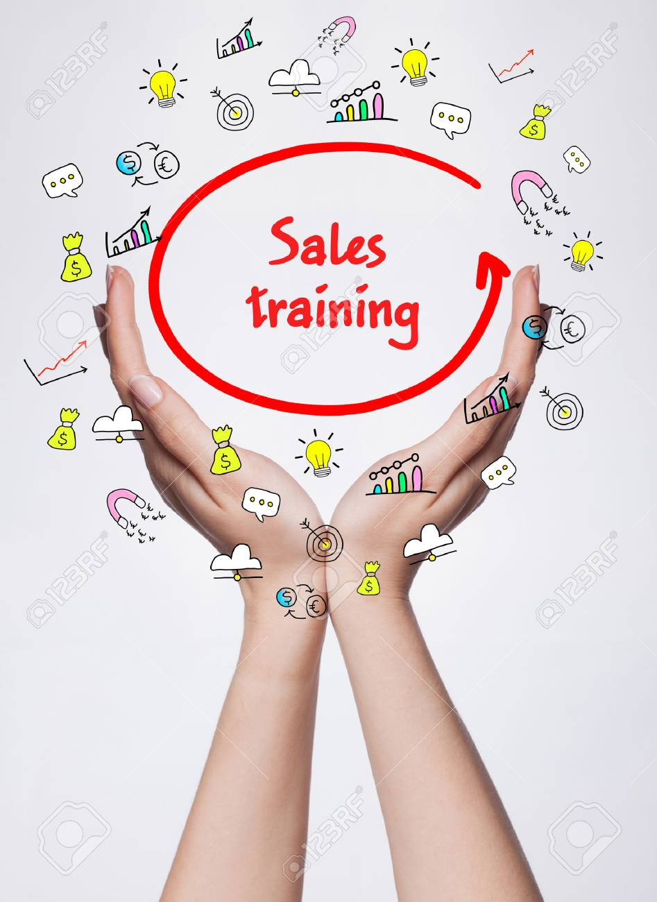Technology, internet, business and marketing. Young business woman writing word: Sales training - 72490024