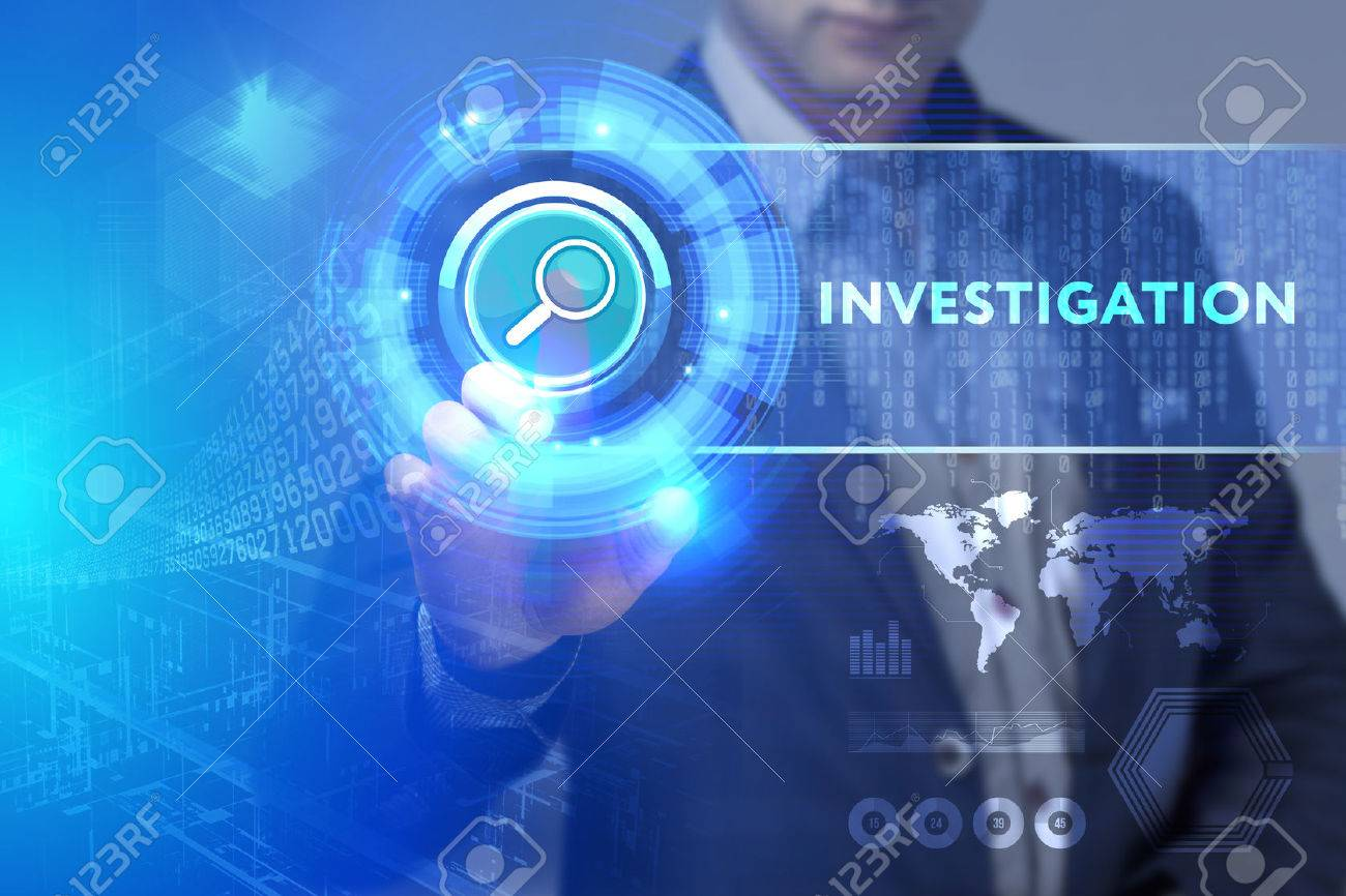 Business, Technology, Internet and network concept. Business man working on the tablet of the future, select on the virtual display: Investigation - 75250026