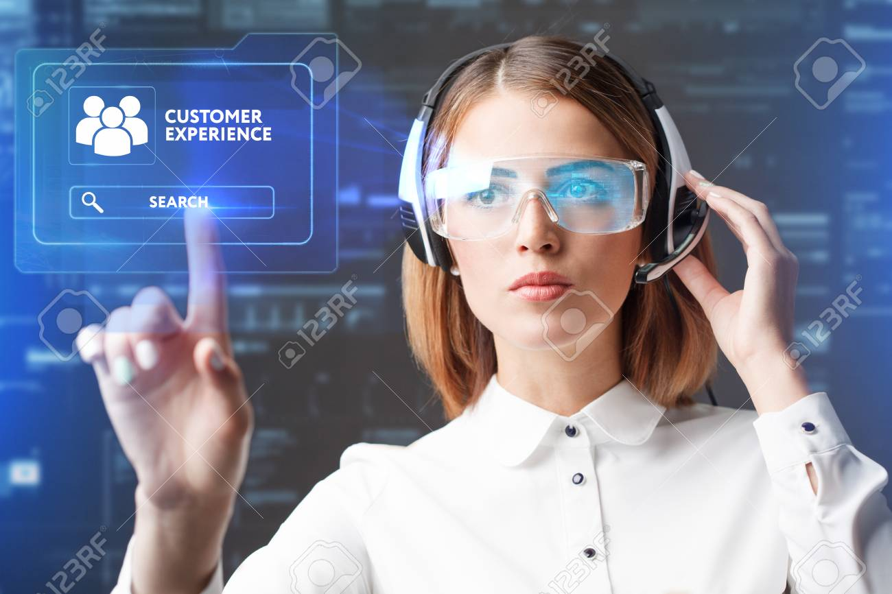 Young businesswoman working in virtual glasses, select the icon customer experience on the virtual display. - 84807591