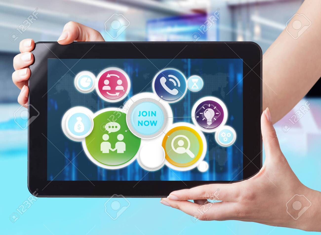 Business, Technology, Internet and network concept. Businessman working on the tablet of the future, select on the virtual display: join now - 134090202