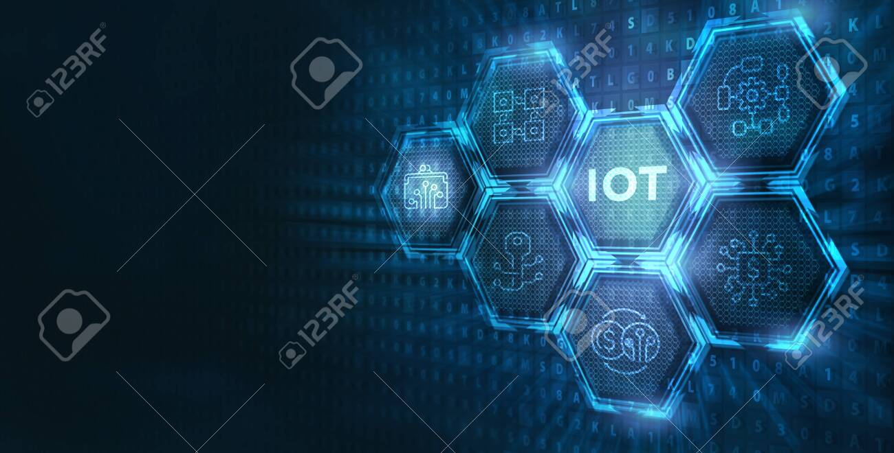 Internet of things - IOT concept. Businessman offer IOT products and solutions. Young businessman select the abstract chip with text IoT on the virtual display. - 138774970